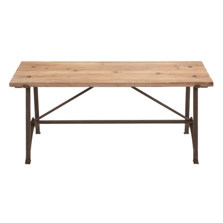 Decmode Industrial Knotted Wood and Iron Rectangular Dining Bench, Beige Aged Iron Accent Bench