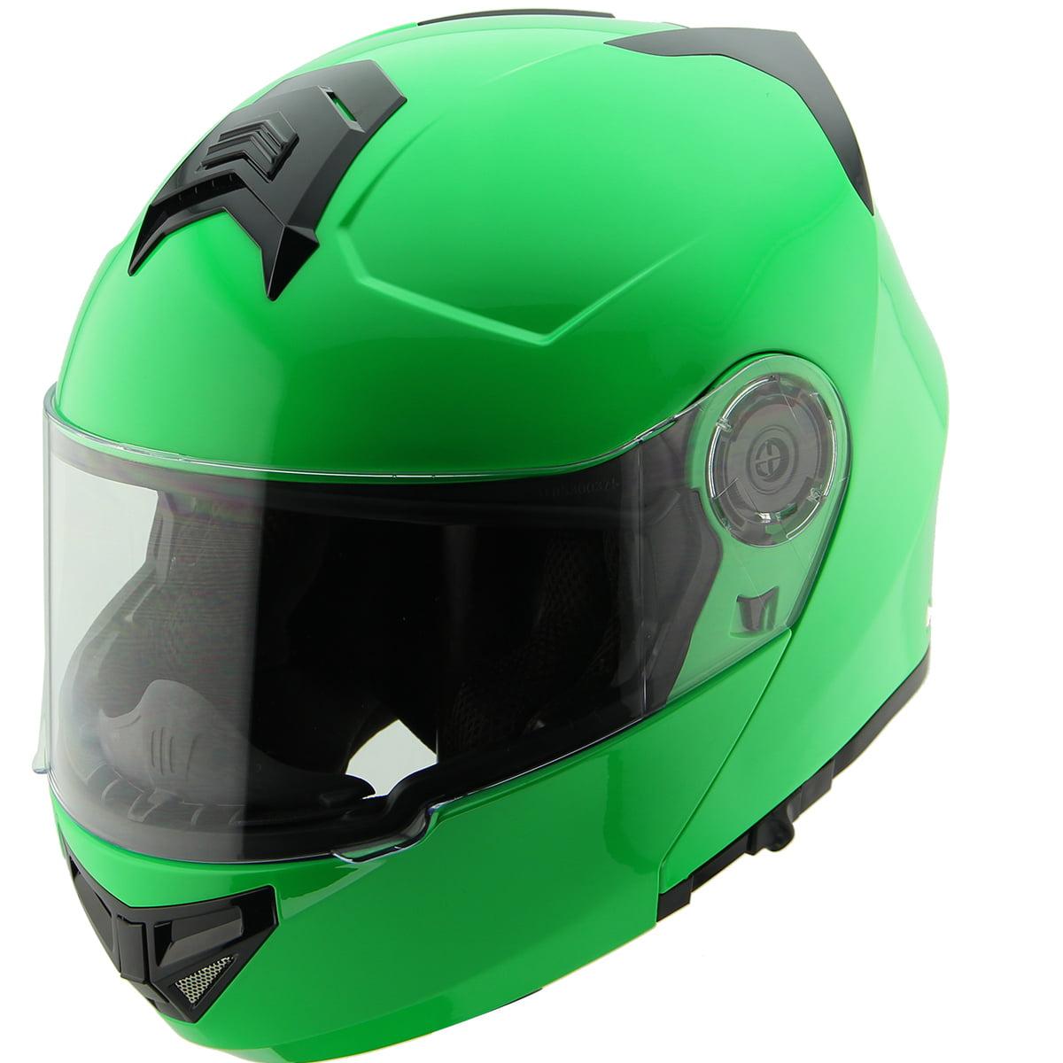 Hawk H-70 Solid Neon Green Modular Motorcycle Helmet