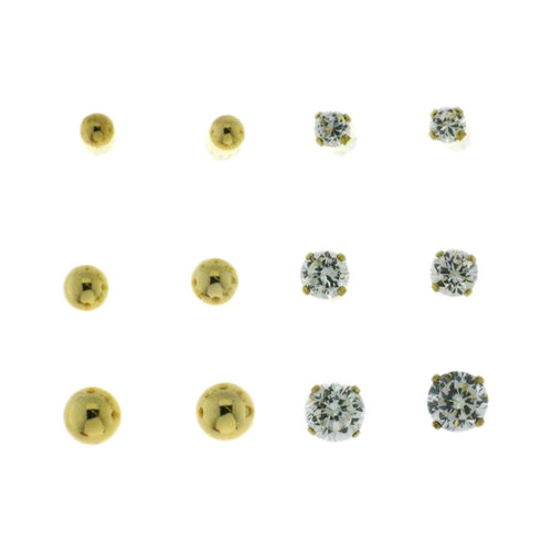 0.4, 0.9, and 1.6 Carat TW CZ Round Stud Earrings and 3, 4, and 5mm Ball 18kt Gold Over Sterling Silver Stud Earrings Set