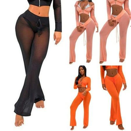 Pants Swimsuit Cover (Newest Womens Beach Mesh Sheer Bikini Cover Up Swimwear Transparent Long Pants Trousers)