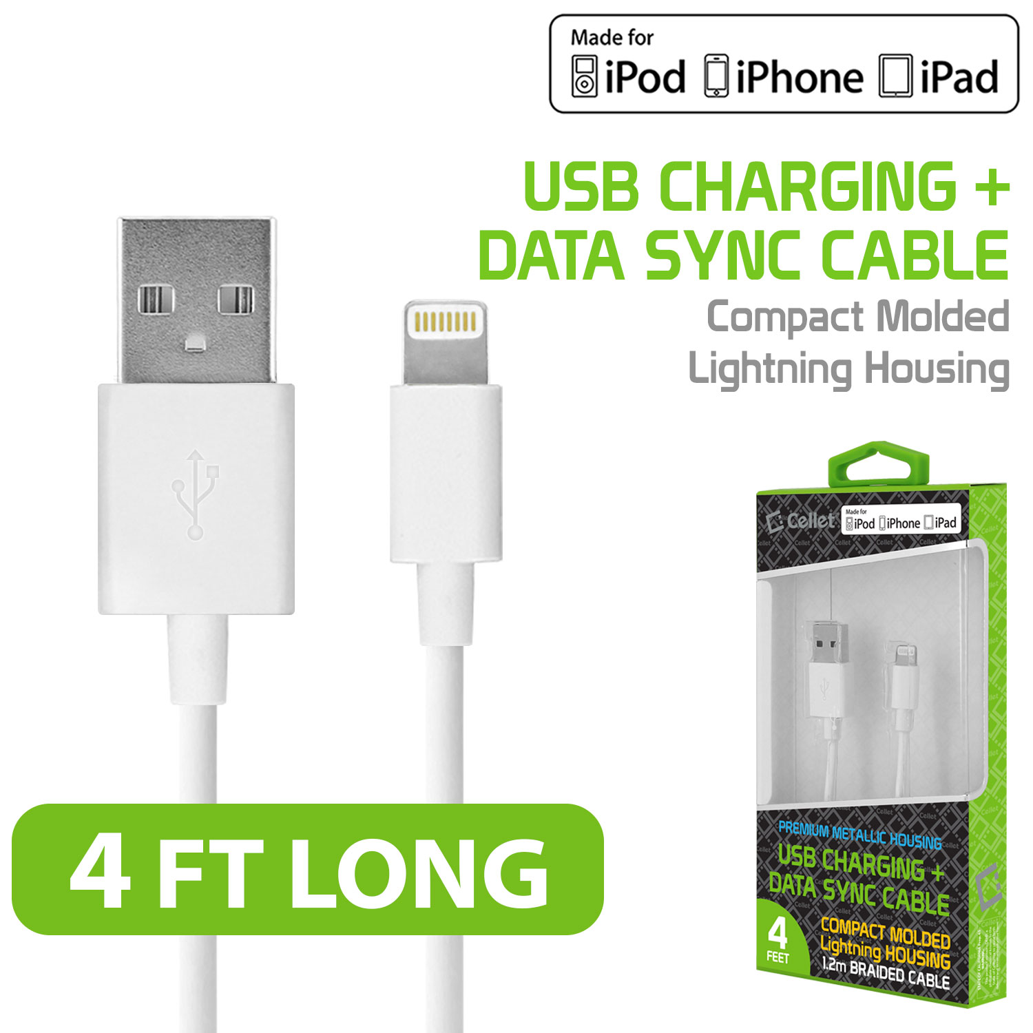 Cellet 4' Lightning 8-Pin to USB Charging Data Sync Cable for Apple iPad Pro, iPad mini 4/2, iPad Air 1/2, iPhone 6s Plus/6s/6 Plus/6/5s/5c/5, iPod touch, iPod nano
