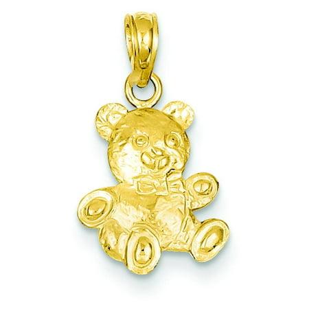 14K Gold 2-D Teddy Bear Pendant Charm Jewelry 18 x 10 mm