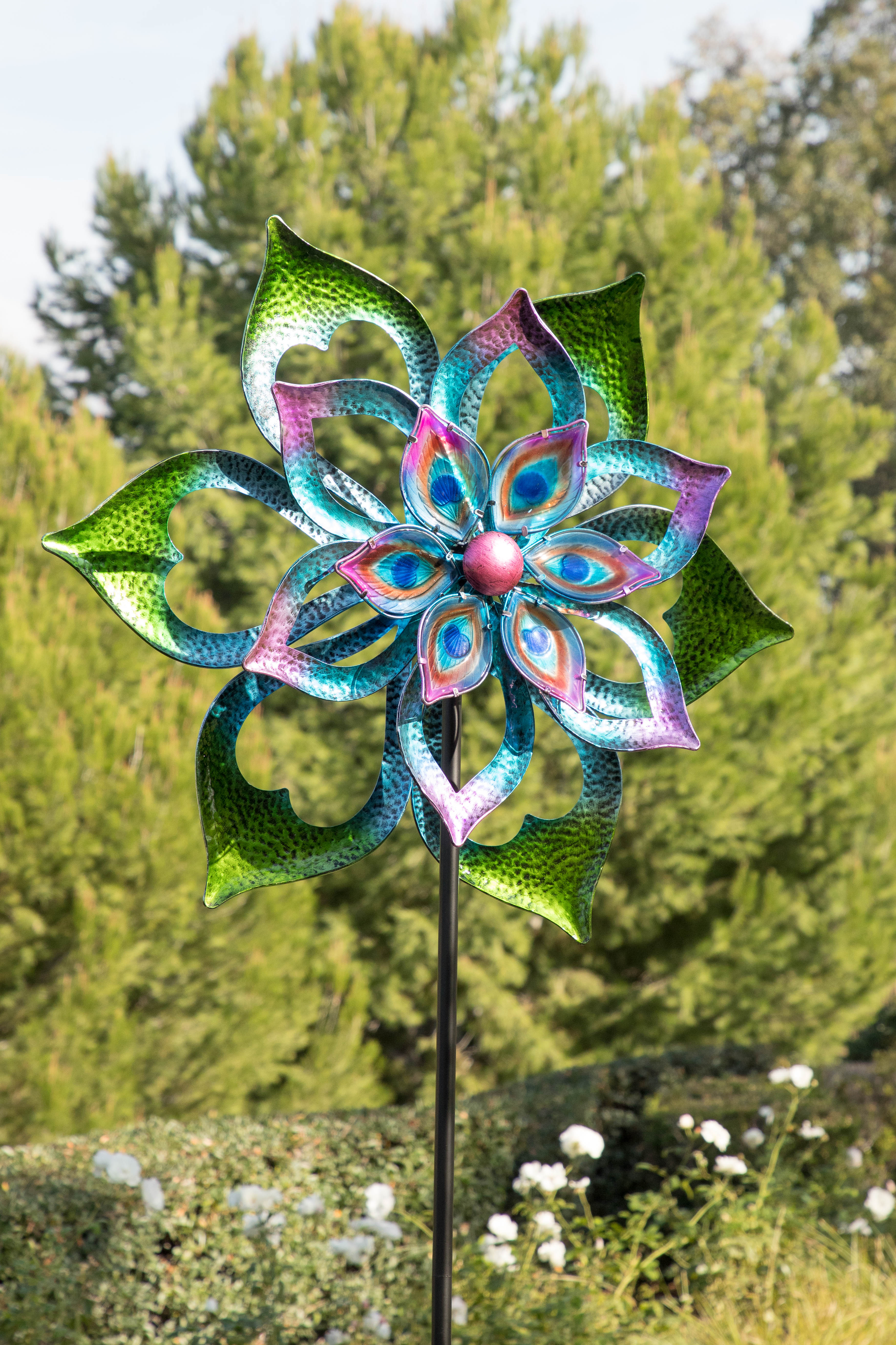 Alpine Metal Double-Sided Flower Spinning Garden Stake, 96 Inch Tall by Alpine Corporation