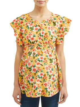 Oh! Mamma Maternity Dolman Flutter Sleeve Floral Top - Available in Plus Sizes