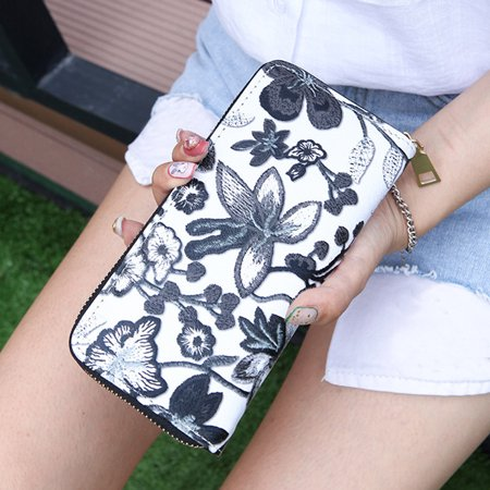 Calfskin Billfold - Women's Casual Floral Printing Card Holder Billfold Purse Wallet Handbag BK