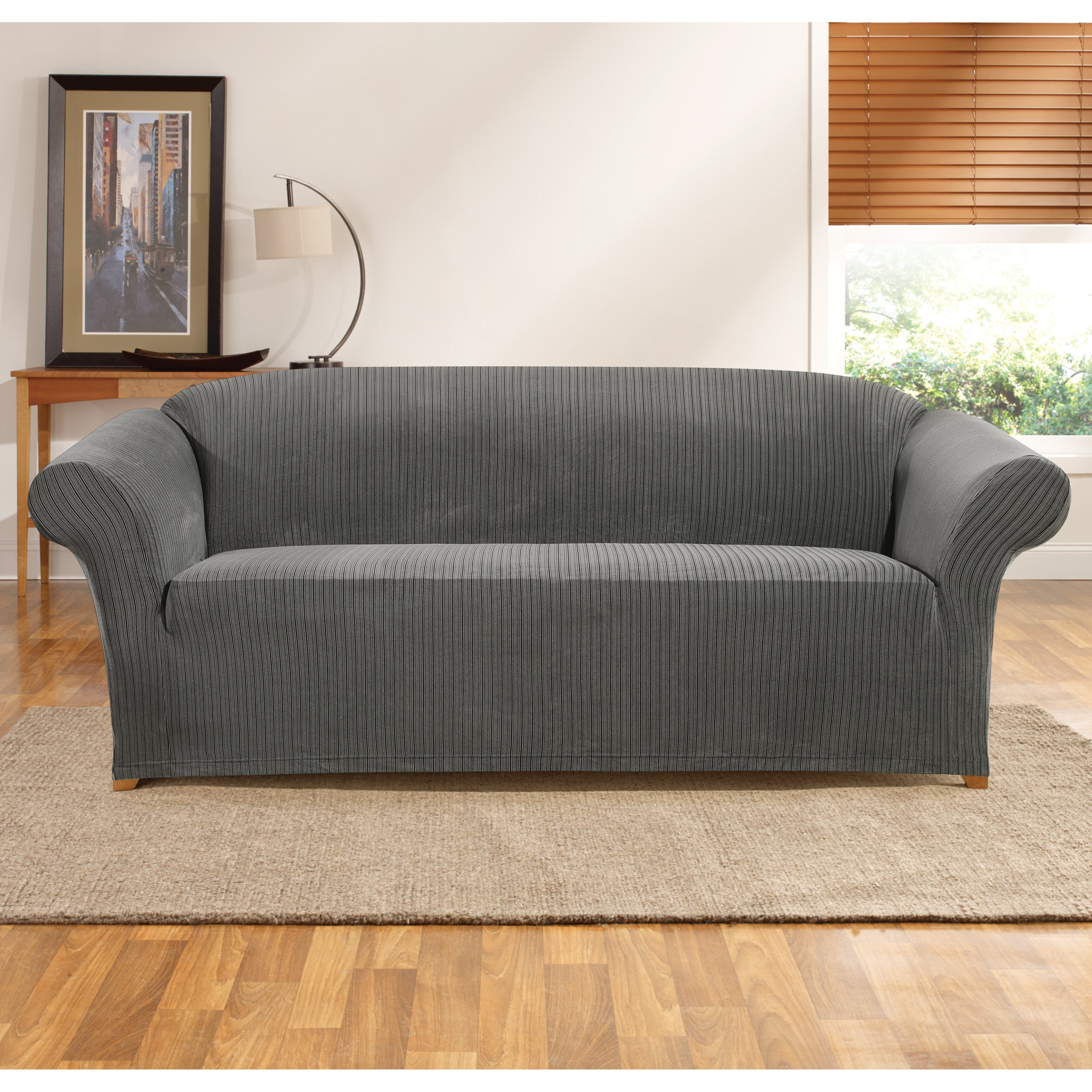Sure Fit Simple Stretch Ribbon e Piece Sofa Slipcover Walmart