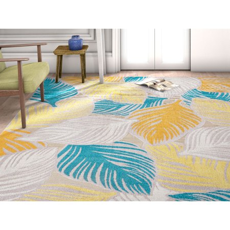 Well Woven Firenze Amelia Modern Abstract Tropical Leaves Sunshine Area Rug