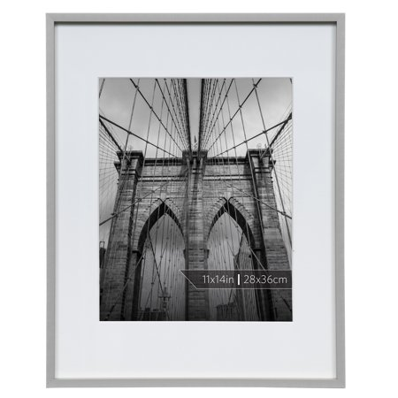 Burnes of Boston 11x14 Aluminum Gallery Frame in Polished Silver Finish Matted To 8x10