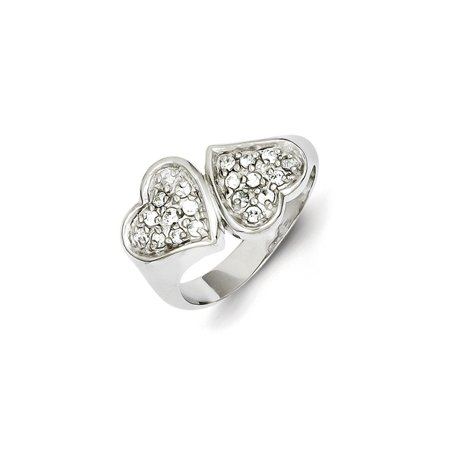 Roy Rose Jewelry Sterling Silver CZ Double Heart
