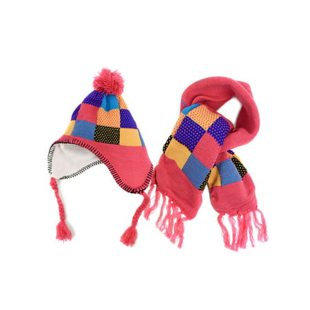 Patchwork Scarf - Kids Boys Girls Patchwork Knitted Pom Trapper Hat and Scarf Set
