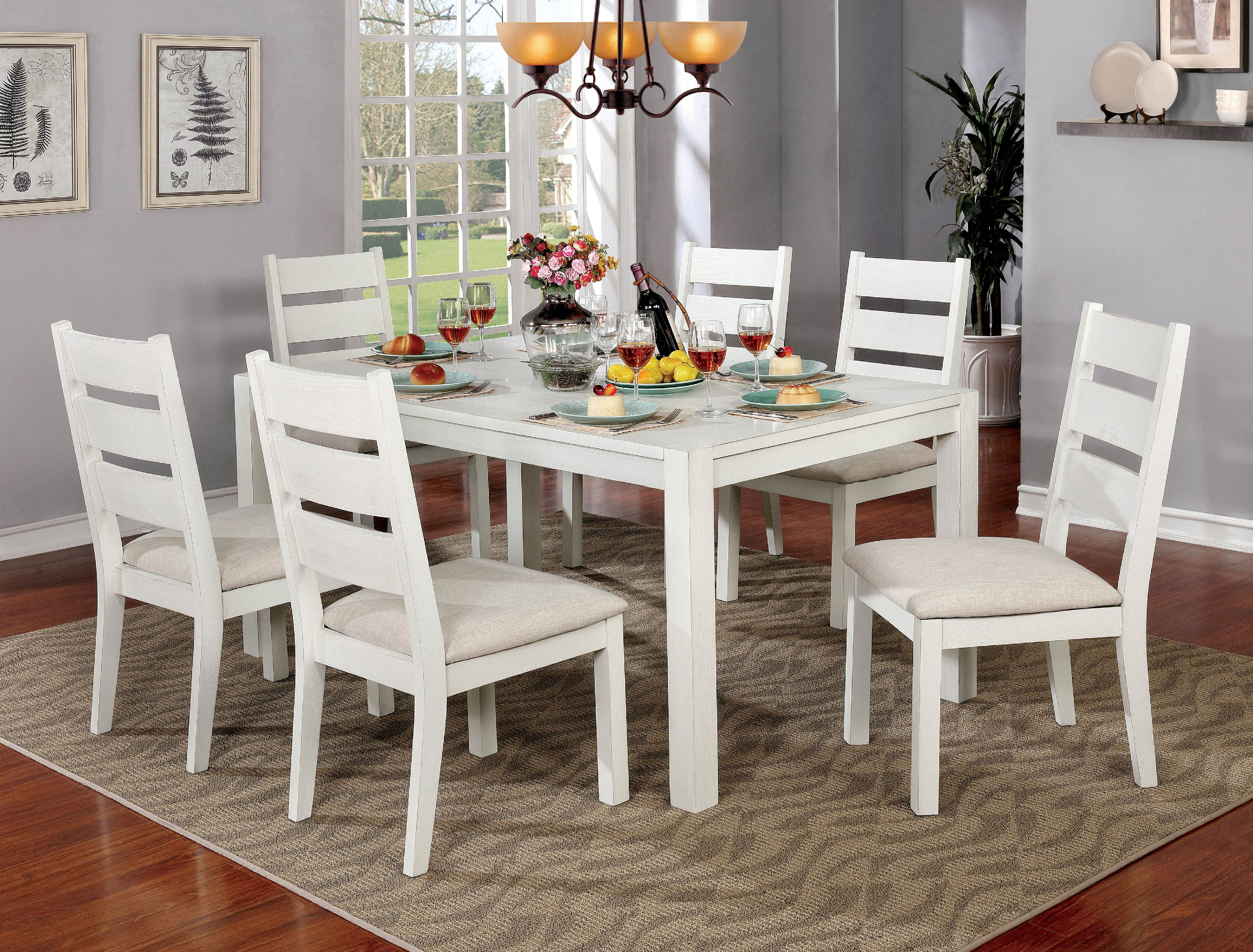 Furniture of America Galveston 7-Piece Rustic Weathered White Dining Table with Leaf Set by Furniture of America