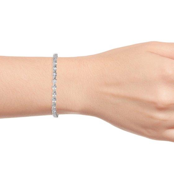 925 Sterling Silver Platinum Plated Pear White Topaz Ruby Tennis Bracelet  for Women 6 5
