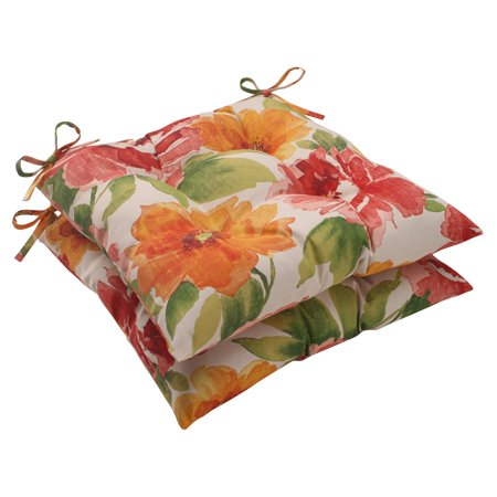 Pillow Perfect Outdoor/ Indoor Primro Orange Wrought Iron Seat Cushion (Set of 2) ()