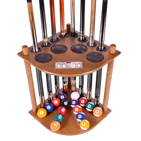 Pool Cue Rack Only 8 Pool Cue - Billiard Stick & Ball Floor Rack With Score Counters Oak Finish