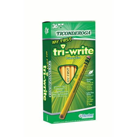 Ticonderoga My First Pencil Tri-Write Triangular Pencil with Eraser, 36 Ct