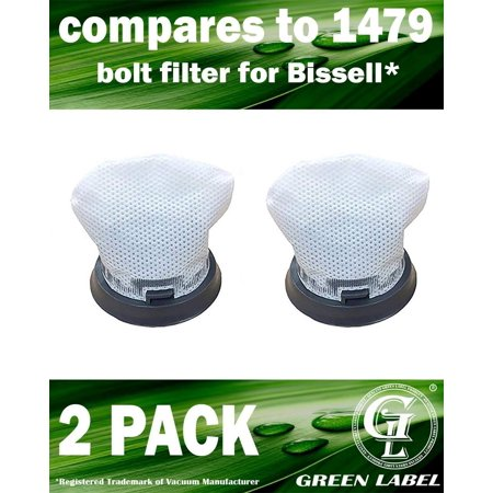 Filter Boost - 2 Pack for Bissell Bolt Vacuum Filter (compares to 1479, 1604734) for ION 2 in 1 Cordless Vacuum 1312. Genuine Green Label Product
