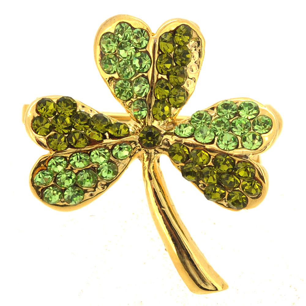 Multi Green Lucky 3 Leaf Clover Flower Crystal Pin Brooch by