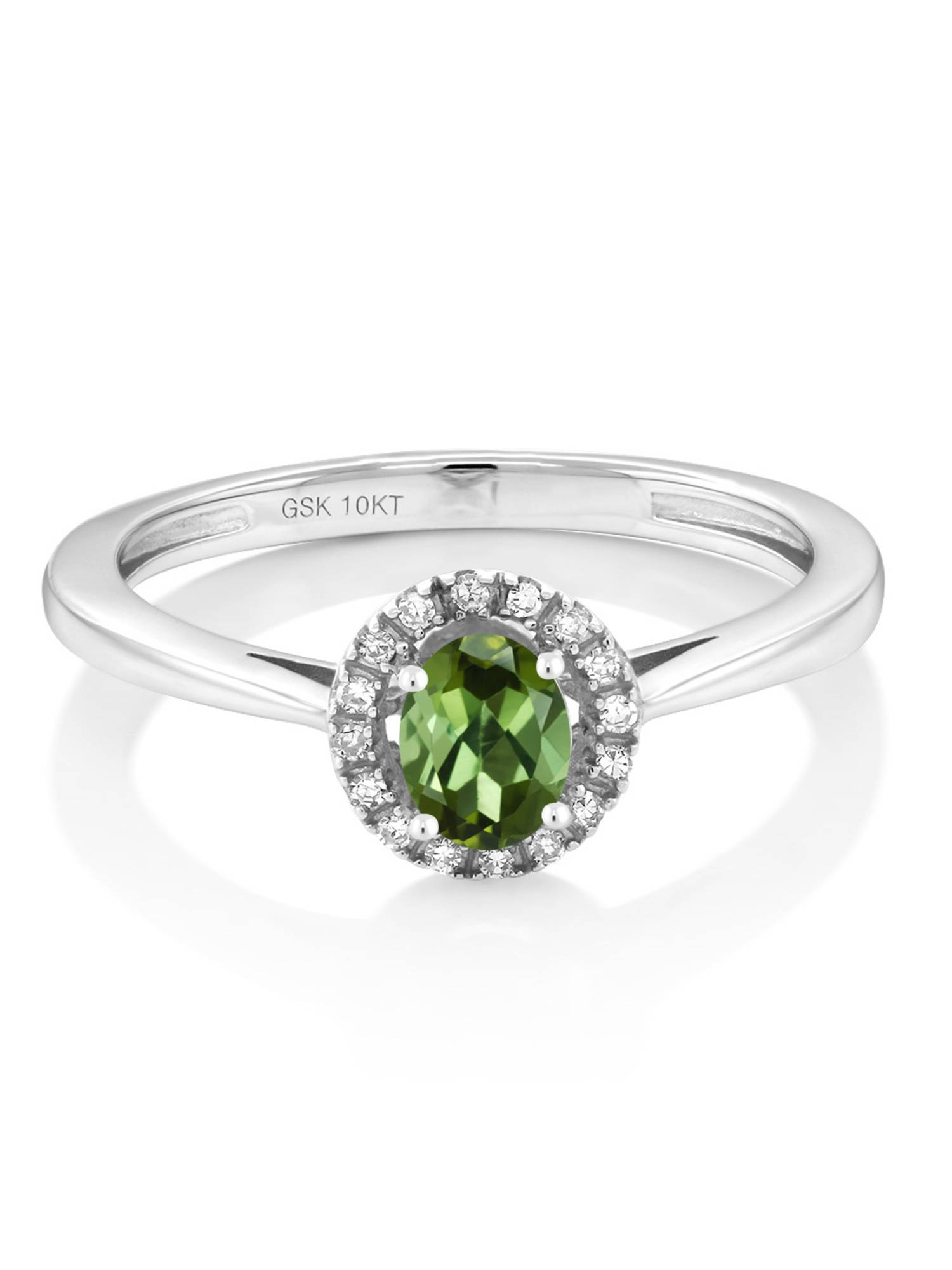 10K White Gold Diamond Engagement Ring with Oval Green Tourmaline by