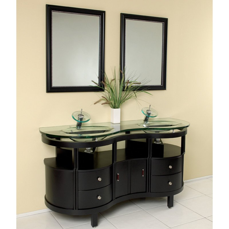 Fresca Unico Espresso 63-in. Modern Double Bathroom Vanity & Mirrors FVN3331ES