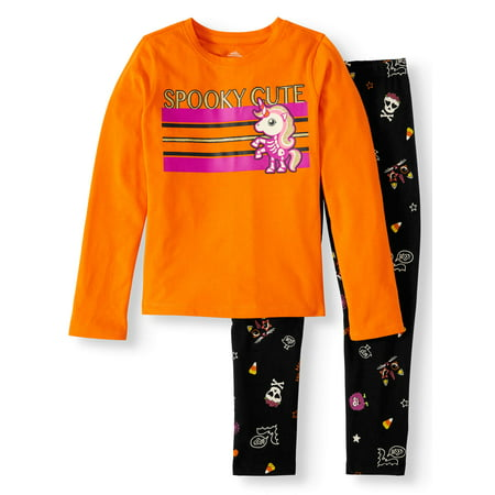 Cheetah Girls Halloween Outfits (Girls' Halloween Long Sleeve Graphic T Shirt & Print Leggings, 2pc Outfit Set (Little Girls, Big Girls & Girls)