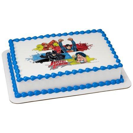 Justice League Team Unite Quarter Sheet Edible Cake Topper (Each) - Justice League Cake