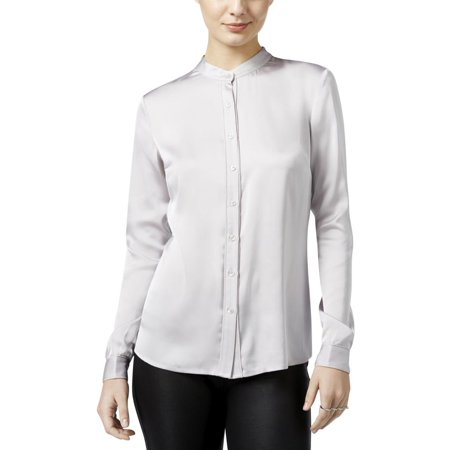 Collarless Blouse (Guess Womens Satin Collarless Button-Down Top )