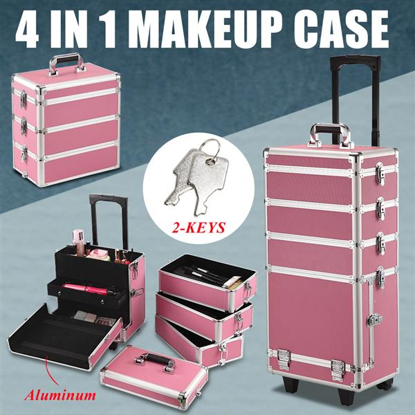 Yaheetech Professional Rolling Artist Case Trolley Travel Cosmetic Case Beauty Case Trolley Pink