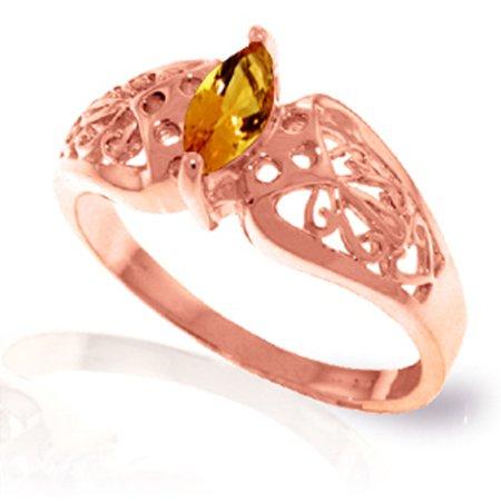 ALARRI 0.2 Carat 14K Solid Rose Gold Filigree Ring Natural Citrine With Ring Size (Citrine Filigree)