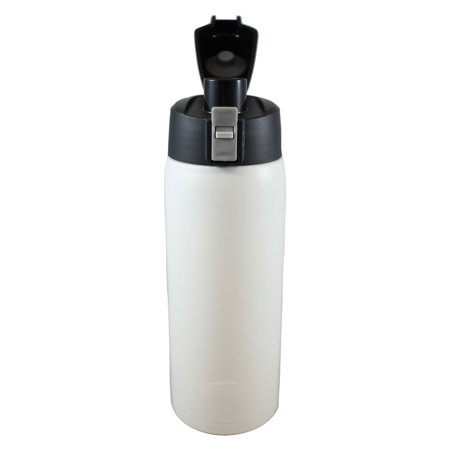 Aquatix (Artic White, 21 Ounce) Pure Stainless Steel Double Wall Vacuum Insulated Sports Water Bottle with Convenient Flip Top - Keeps Drinks Cold for 24 Hours, Hot for 6 Hours ()