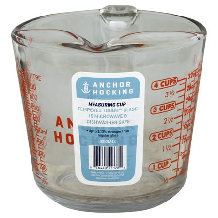 Anchor Hocking 4-cup Decorated Glass Measuring Cup