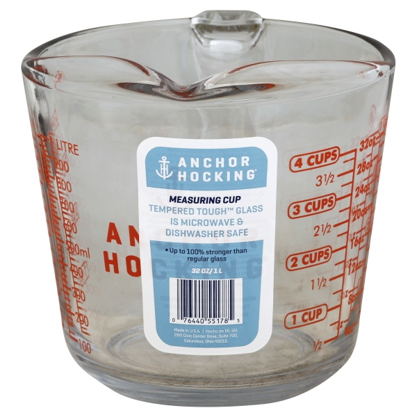 Anchor Hocking 4 Cup Decorated Glass Measuring Cup, 1 Each
