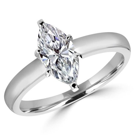 0.5 Ct Solitaire Ring (0.5 CT Marquise Cut Diamond Solitaire Engagement Ring in 14K White Gold, Size)