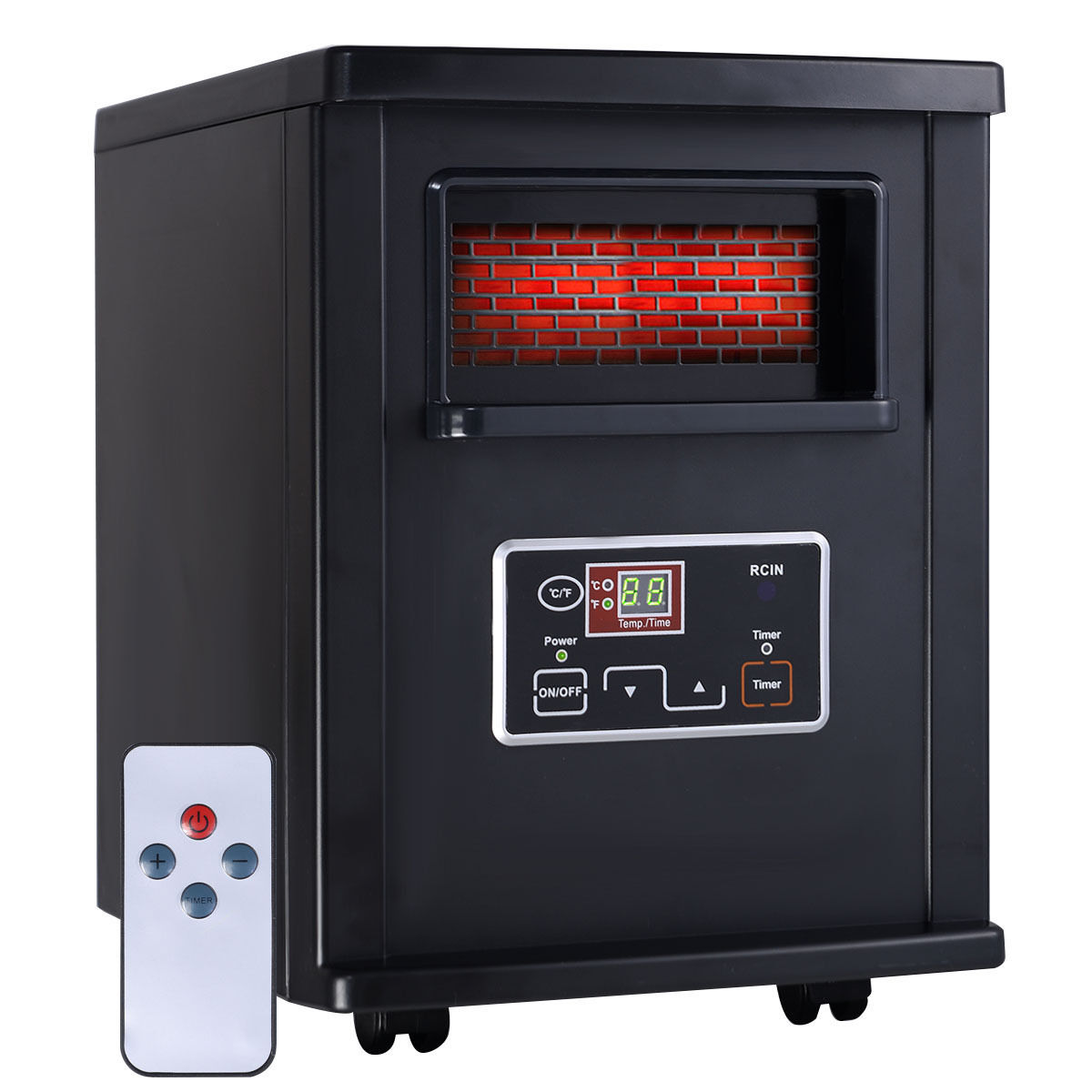 Goplus 1500W Electric Portable Infrared Quartz Space Heater Remote Black