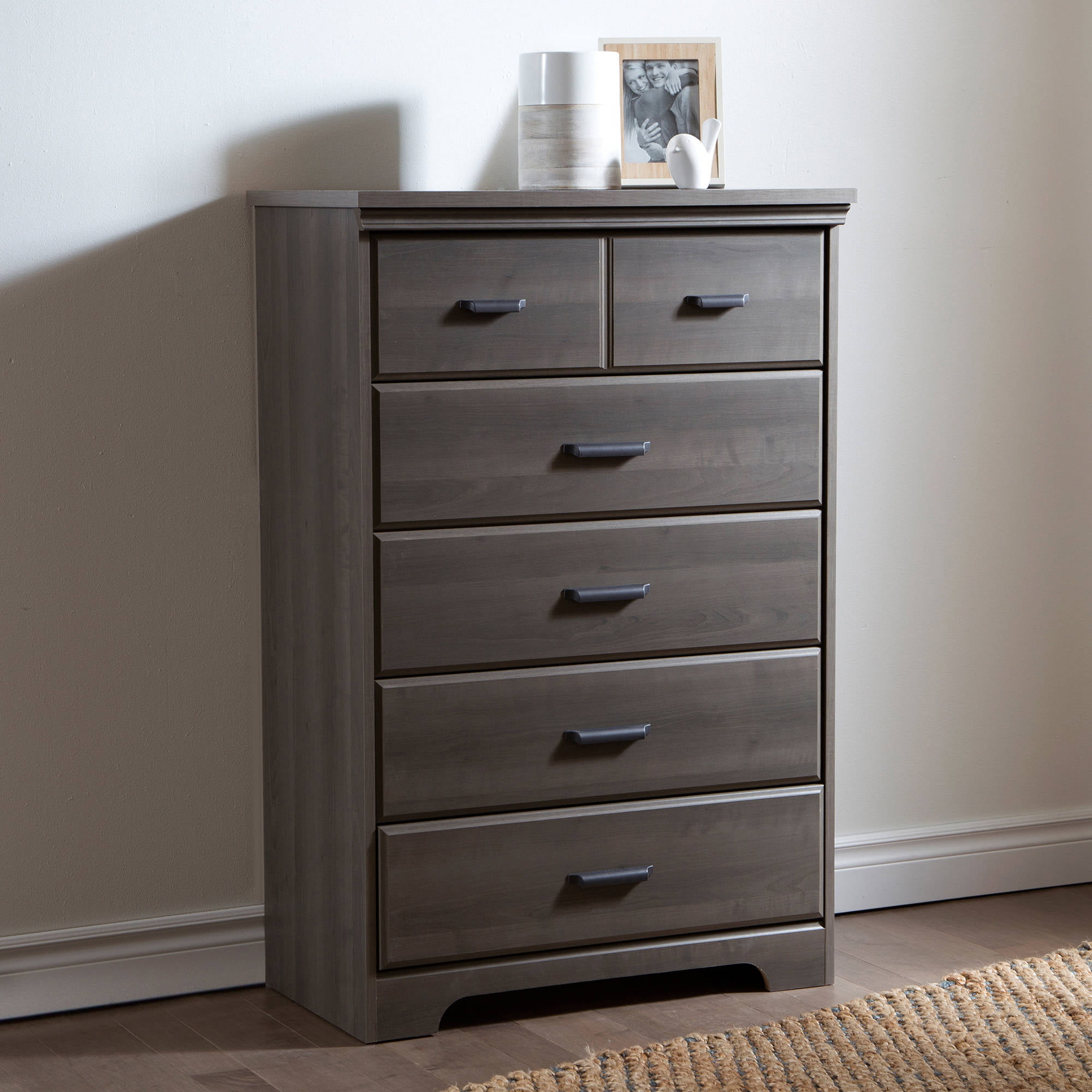 Laguna 5-Drawer Chest, Black Wood Grain - Walmart.com