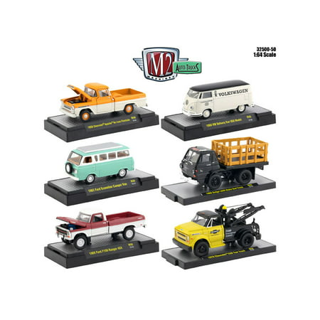 auto thentics 6 piece set release 50 in display cases 1 64 diecast model cars by m2 machines. Black Bedroom Furniture Sets. Home Design Ideas