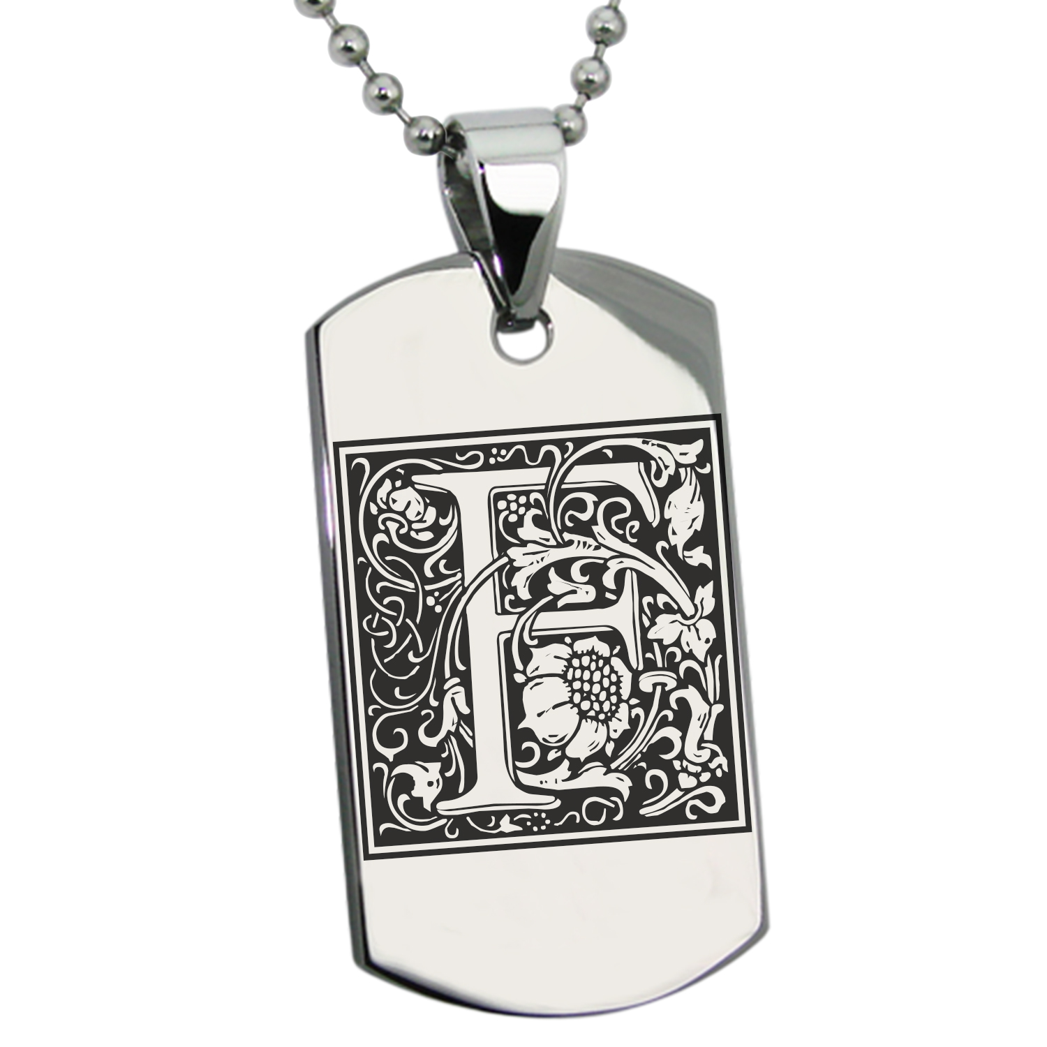 Stainless Steel Letter F Initial Floral Monogram Engraved Dog Tag Pendant