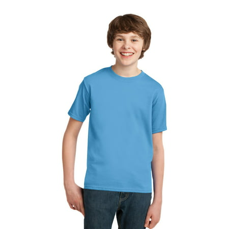 647954117 Port & Company Youth Cotton Essential T-Shirt. Aquatic Blue. M. -  Walmart.com