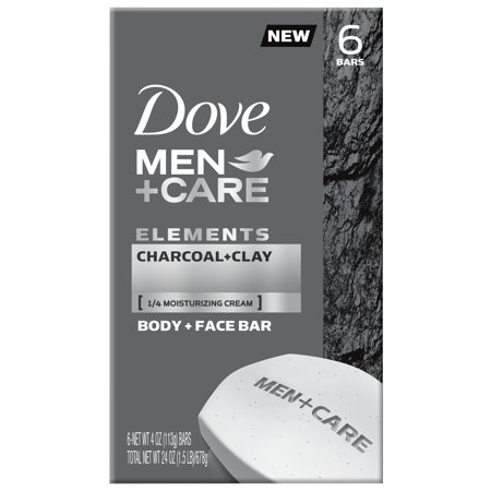 Dove Men+Care Elements Body and Face Bar Charcoal + Clay 4 oz, 6 Bar
