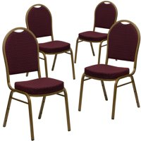 4 Pack - Dome Back Stacking Banquet Chair With Gold Frame