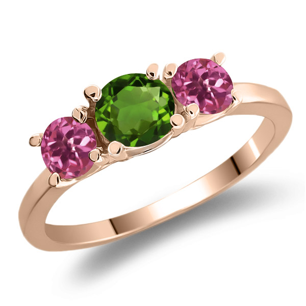 0.98 Ct Green Chrome Diopside Pink Tourmaline 925 Rose Gold Plated Silver Ring by