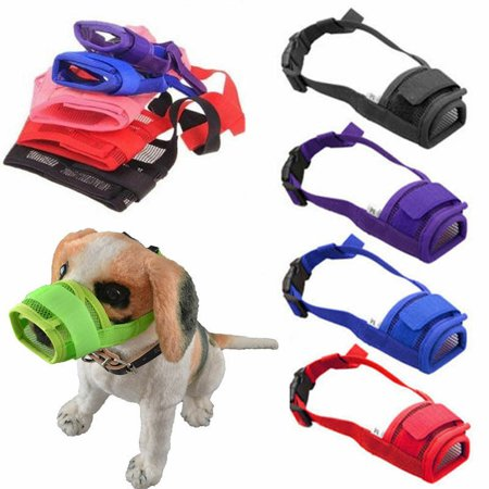 Fashion Adjustable Muzzle Soft Nylon Mask Anti Bark Bite Mesh Puppy Pet Dog Chew ()
