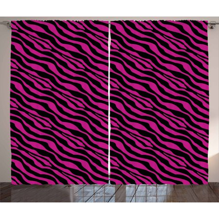 Pink Zebra Curtains 2 Panels Set, Wild Zebra Background Stripes Savannah African Exotic Youth Culture Hippie, Window Drapes for Living Room Bedroom, 108W X 63L Inches, Magenta Onyx, by Ambesonne