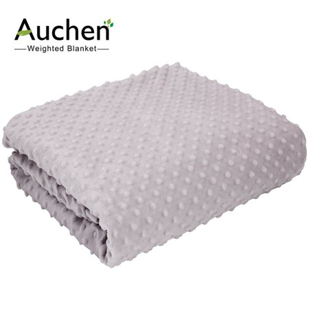 """Weighted Blanket Duvet Cover 60"""" x 80"""" by Auchen, Ultra-Soft Removable Cover for Weighted Blankets   Comfortable and Breathable, Easy Care Removal and Machine Washable (60"""" x 80"""" - Gray Minky Dot )"""