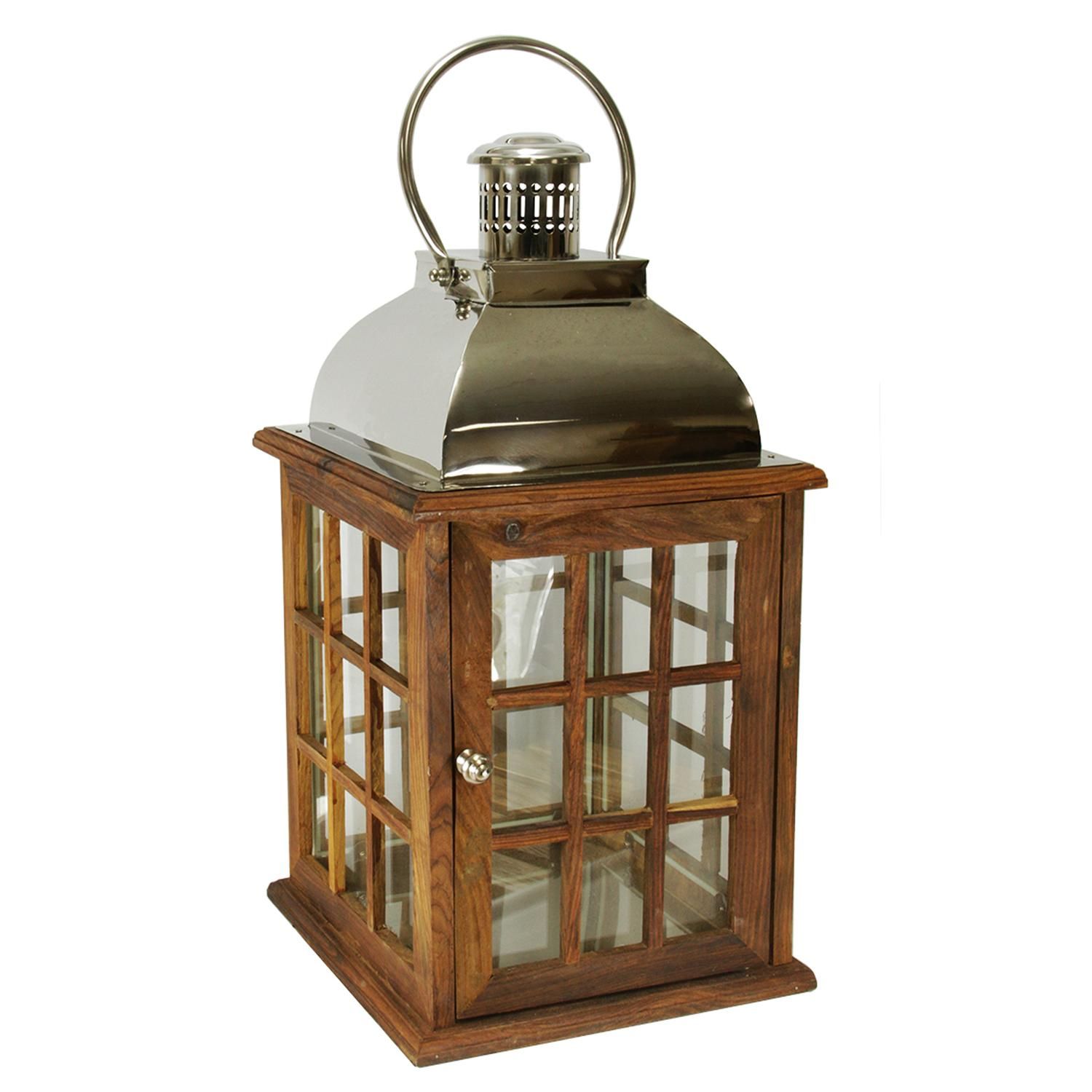 "30"" Oversized Modern Sheesham Wood Candle Lantern with Silver Metal Handle"