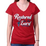 Restored By The Lord Christian T Shirt | Religious Gift Jesus Junior V-Neck Tee
