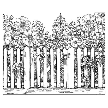 """Crafty Individuals Unmounted Rubber Stamp 4.75""""X7"""" Pkg-Beyond The Picket Fence"""