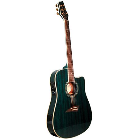 Kona Thin-Body Acoustic/Electric Guitar, Spruce with Transparent Blue -