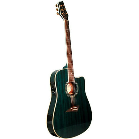 Columbia Guitar (Kona Thin-Body Acoustic/Electric Guitar, Spruce with Transparent Blue Finish)
