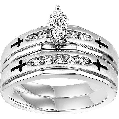 Forever Bride 1 5 Carat T.W. Diamond Sterling Silver Cross Bridal Set by Frederick Goldman Inc.