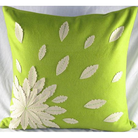 Design Accents LLC Felt Applique Flower Felt Throw Pillow